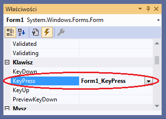 visual studio keypress